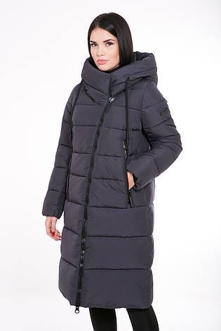 Зимняя женская курточка Kattaleya KTL-160 с ассиметричной молнией графитовая (#539), фото 2