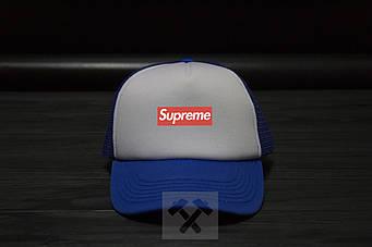 Спортивная кепка Supreme, Суприм, тракер, летняя кепка, унисекс, синего и серого цвета, копия