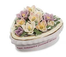 """Порцеляновий скринька з квітами """"Весняне серце"""" (Pavone) CMS - 45/ 2"""