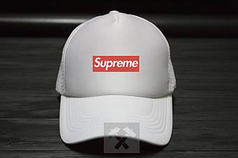 Спортивная кепка Supreme, Суприм, тракер, летняя кепка, унисекс, белого цвета, копия