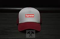 Спортивная кепка Supreme, Суприм, тракер, летняя кепка, унисекс, красного и серого цвета, копия