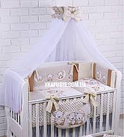"""Комплект в детскую кроватку """"Мишки на луне"""" ванильно-коричневого цвета, фото 1"""