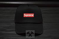 Спортивная кепка Supreme, Суприм, тракер, летняя кепка, унисекс, черного цвета, копия