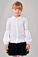 Школьная белая блуза для девочки , фото 1