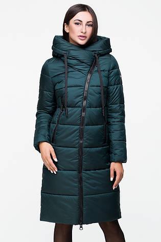 Зимняя женская курточка Kattaleya KTL-160 с ассиметричной молнией зеленая (#602) 46 размер, фото 2