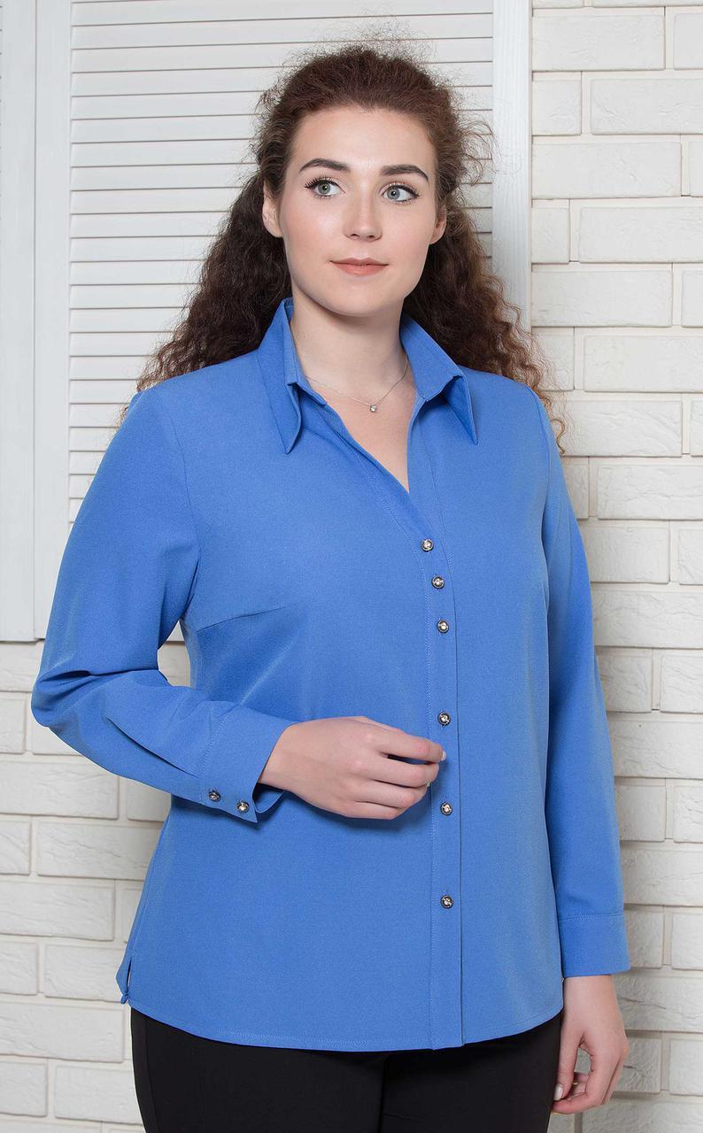Блуза большого размера васильковая класика BerdToni