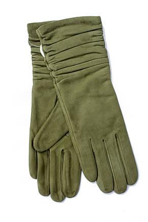 Женские удлиненные замшевые перчатки зеленые 2-796, фото 2