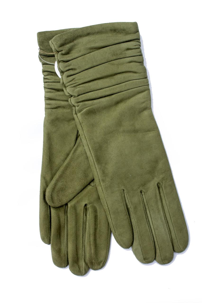 Женские удлиненные замшевые перчатки зеленые 2-796