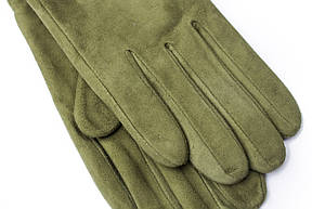 Женские удлиненные замшевые перчатки зеленые 2-796, фото 3