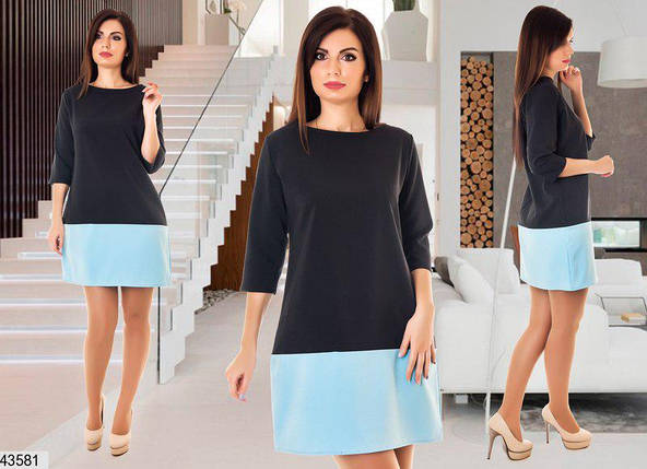 Красивое демисезонное платье мини прямого кроя рукав три четверти черное с голубым, фото 2