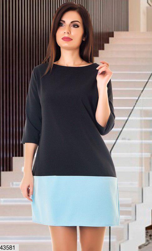 Красивое демисезонное платье мини прямого кроя рукав три четверти черное с голубым