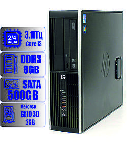 Компактный игровой компьютер HP Intel Core i3 - 2 ядра 3.1GHz/8Gb-DDR3/HDD-500Gb/GeForce GT 1030