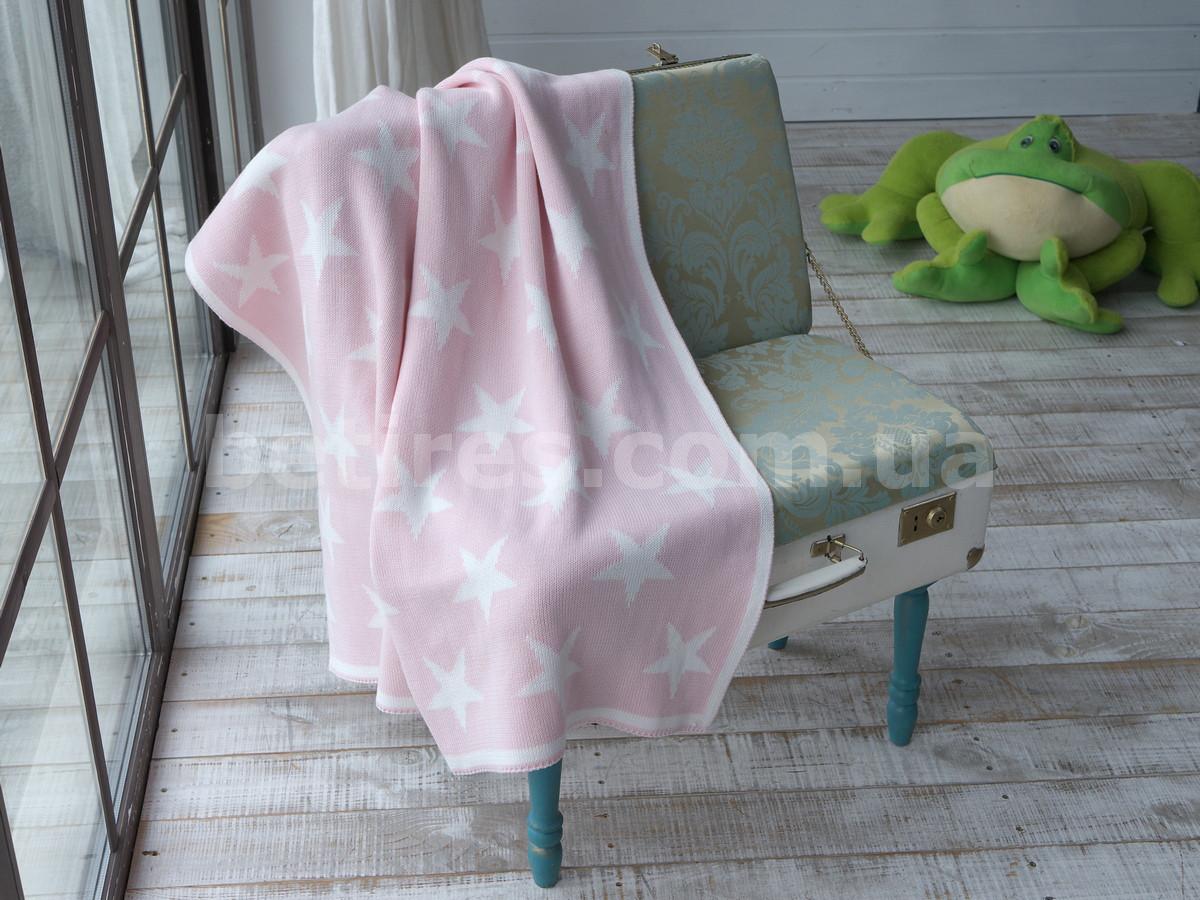 Плед дитячий в'язаний 90x90 BETIRES STAR PINK (100% бавовна) рожевий