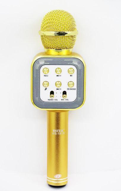 Беспроводной Караоке Микрофон с динамиком WS-1818 золото