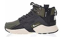 "Кроссовки мужские Nike Huarache X Acronym City MID Leather Haki/Black ""Черно-зеленые""  р. 41-45, фото 1"