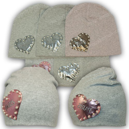 Двойная шапка на девочку трикотаж, р. 50-52