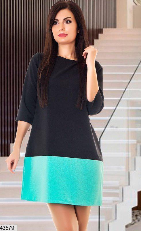 Стильное демисезонное платье выше колен трапецевидное рукав три четверти черное и ментол