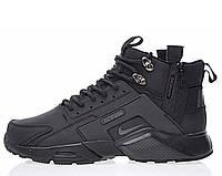 """Кроссовки мужские высокие Nike Huarache X Acronym City MID Leather All Black """"Черные""""  р. 40-45, фото 1"""