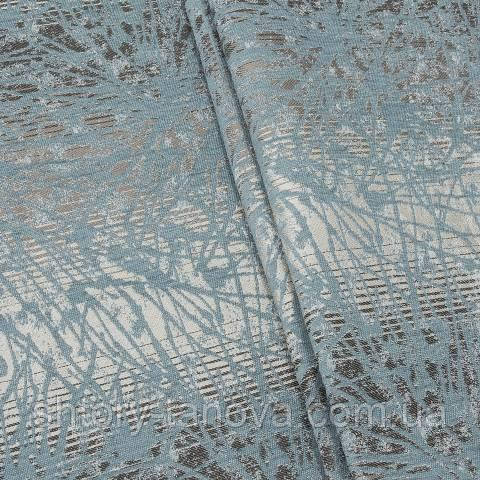 Шенилл абстракция серо-голубой
