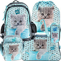 Школьный рюкзак Paso с котенком, набор 5 шт. , фото 1
