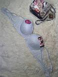 Бюстгальтеры 7 r 6 чашка C размер 95-90 красивый с гипюром зелёный-розовый-с узором, фото 4