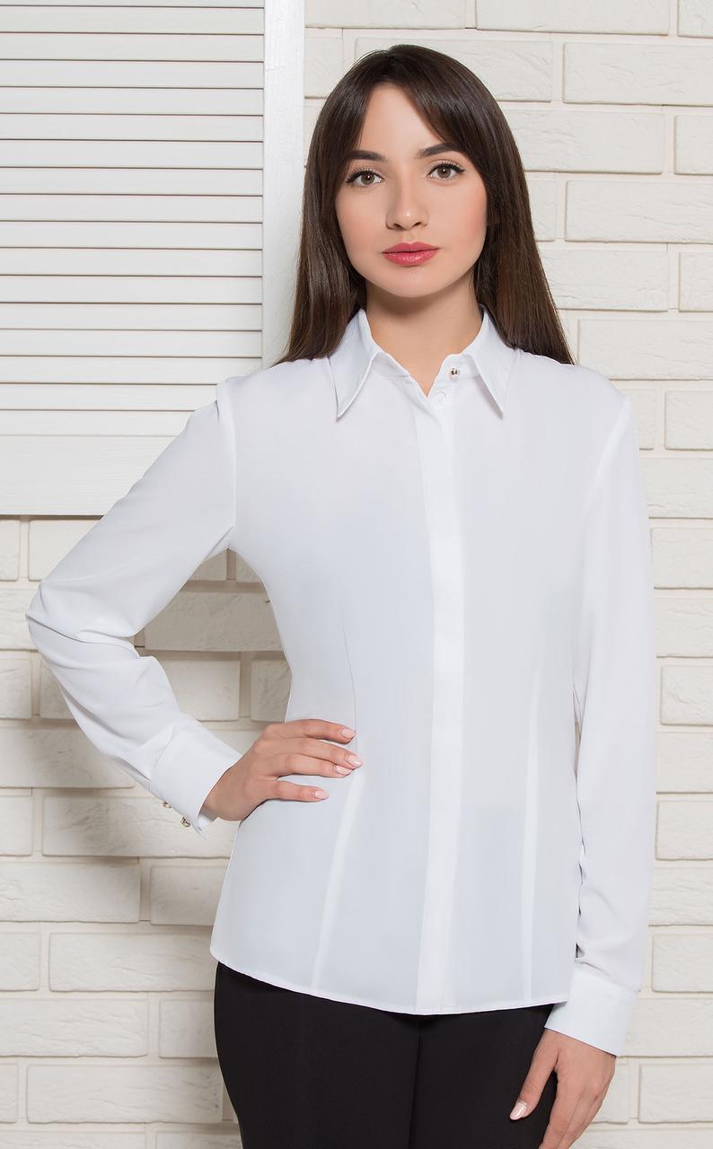 Блуза жіноча біла офісна на гудзики BerdToni MKBT7176-2