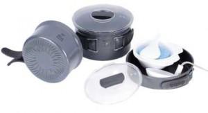 Набор посуды из анодированного алюминия на 2-3 персоны с рифлёным дном   Tramp TRC-034
