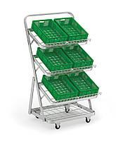 Стеллаж для овощей и фруктов на колесах с сетчатыми полками.Тип-07.
