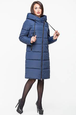 Женская курточка зимняя Kattaleya KTL-160 с ассиметричной молнией синяя (#3025) 48 размер, фото 2