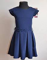 Школьный сарафан для девочки синего цвета с бусинами 5-10лет, фото 1