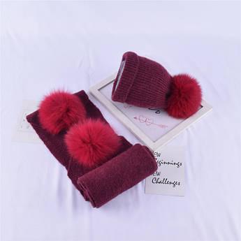 Детский набор шапка + шарф бордовый