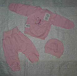 Комплект на выписку Слоник розовый с начесом (3 единицы)