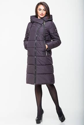 Зимняя женская куртка Kattaleya KTL-160 с ассиметричной молнией цвета шоколад (#113), фото 2