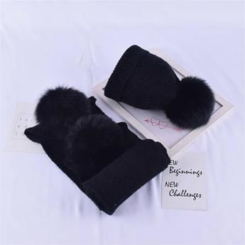 Детский набор шапка + шарф с помпонами черный