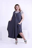 Женское платье свободного покроя (футболка отдельно) 0879 / размер 42-74 / большие размеры цвет темно серый