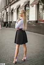 Деловое платье короткое на резинке юбка солнце клеш рукав длинный черно белое, фото 2