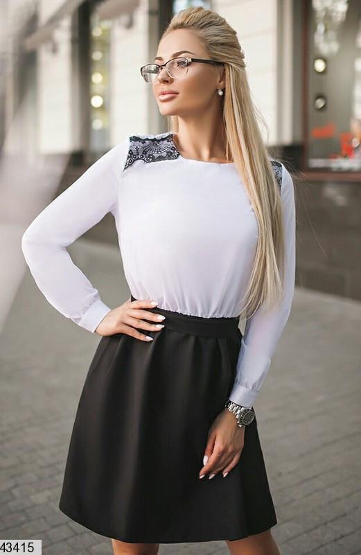 Деловое платье короткое на резинке юбка солнце клеш рукав длинный черно белое