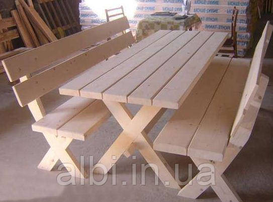 Стол 2м садовый из натурального дерева из комплекта Дачник