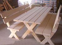Стол 2м садовый из натурального дерева из комплекта Дачник, фото 1