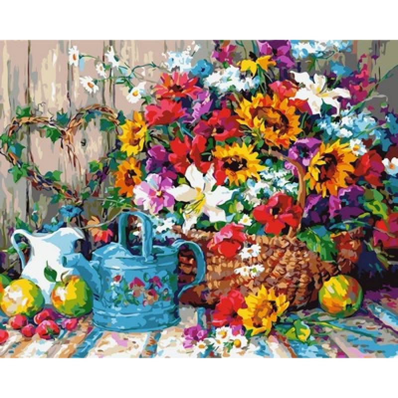 Рисование по номерам Натюрморт с цветочной лейкой VP944 Babylon Turbo 40 х 50 см