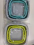 Складное силиконовое ведро 5 л. для дома, дачи и выездов на природу, квадратное или круглое, фото 2