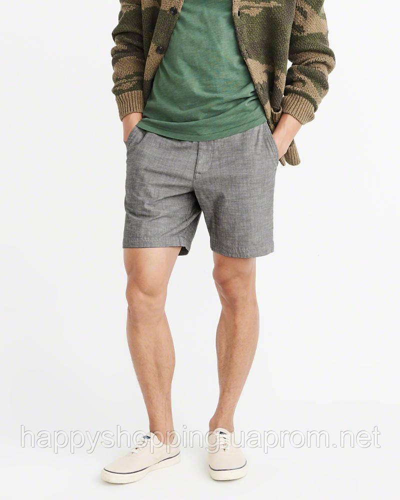 Мужские серые хлопковые шорты Abercrombie & Fitch