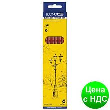 Набор чернографитных карандашей для черчения ECONOMIX 6 шт. разной твердости (Н-В) E11303