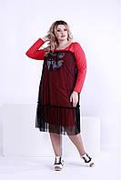 Женское модное платье с сеткой 0874 / размер 42-74 / большие размеры