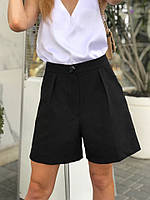Классические черные шорты с высокой посадкой