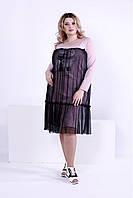 Женское модное платье с сеткой 0874 / размер 42-74 / большие размеры цвет пудра