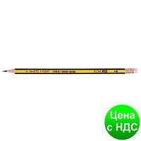 Карандаш чернографитный ECONOMIX НВ корпус черно/желтый, заостренный с резиной E11320