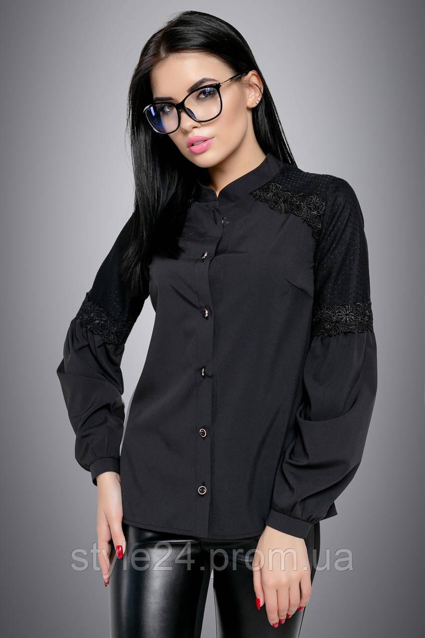 Жіноча блуза з вставками сіточки на гудзики.Р-ри 44-50