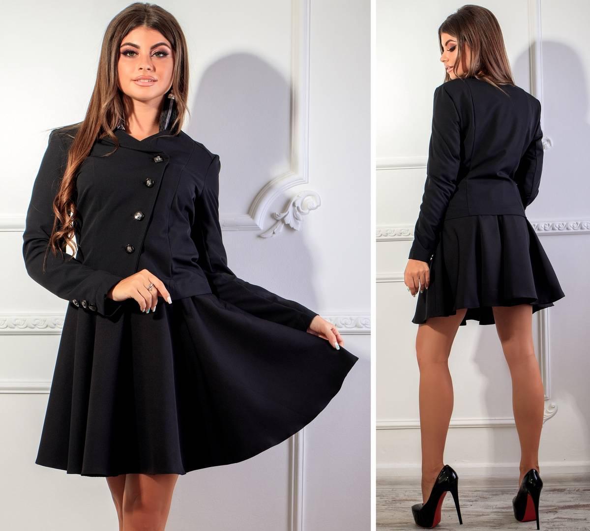 Пиджак женский,( арт 118), ткань костюмка, цвет темно черный