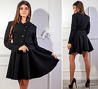 Пиджак женский,( арт 118), ткань костюмка, цвет темно черный, фото 1